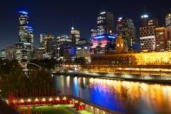 Melbourne CBD Australia. A night shot of Melbourne CBD and the Yarra river Stock Photos