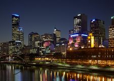 Melbourne CBD bij nacht Royalty-vrije Stock Foto
