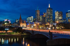 Melbourne CBD cityscape with traffic at Princes Bridge at night Stock Photos