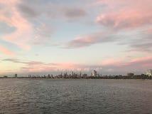 Melbourne CBD da praia do St Kilda fotografia de stock