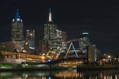Melbourne CBD and footbridge Stock Photography
