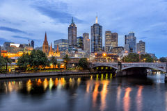 Melbourne CBD. Looking across the Yarra River from Southbank to the city of Melbourne and Princess Bridge royalty free stock photography