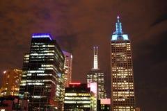 Melbourne CBD na noite Imagem de Stock