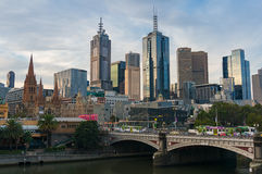 Melbourne CBD skyline and Princes Bridge with trams and traffic Royalty Free Stock Photos