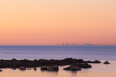 Melbourne CBD skyline at sunset in the distance Stock Photos