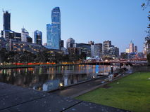Melbourne CBD skyline after sunset from Southbank Royalty Free Stock Image