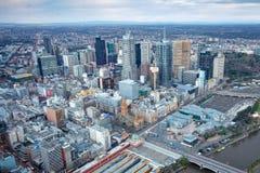 Melbourne CBD at Sunrise. Closeup of buildings at sunrise in Melbourne CBD in Victoria, Australia royalty free stock photos