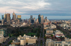 Melbourne CBD at sunrise with Fitzroy Gardens Royalty Free Stock Photo
