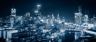 Melbourne City. The beautiful city of Melbourne at night Royalty Free Stock Image