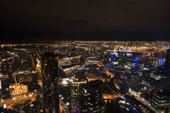 Melbourne City from above. A night time city view of Melbourne city Australia from the Eureka skydeck 88 Stock Photo