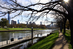 Melbourne City, Australia. Melbourne looking toward the city centre from the banks of the Yarra River, Australia Stock Photos