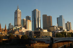 Melbourne City, Australia, at sunrise. View of the City of Melbourne, Australia, with the Yarra River in foreground Stock Image