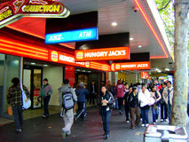 Melbourne city. Australian city center restaurants and busy streets stock photo