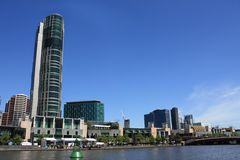 Melbourne city, on banks of Yarra River. Architecture on the banks of the Yarra River in Melbourne, Australia Royalty Free Stock Photography