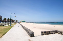 Melbourne city beach. Horizon scenery with Melbourne summer city beach, Beaconsfield Parade Stock Images