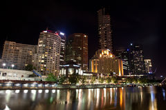 Melbourne City Buildings at night stock photography
