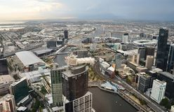 Melbourne City Centre. Melbourne - westward view from the Eureka Skydeck, the highest public vantage point in the Southern Hemisphere Stock Photo