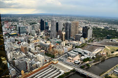 Melbourne City Centre. Melbourne - view from the Eureka Skydeck, the highest public vantage point in the Southern Hemisphere with Flinders Street railway station Royalty Free Stock Photos