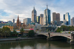 Melbourne city centre skyline with view of Yarra river Royalty Free Stock Photo