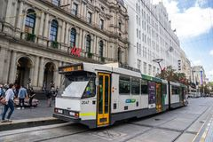 Melbourne City Circle Tram service is operating in the central b royalty free stock photo