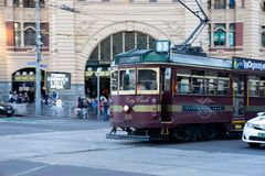 Melbourne City Circle Tram service is operating in the central b stock image