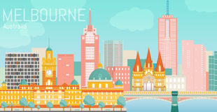 Melbourne city flat vector illustration. Royalty Free Stock Photos