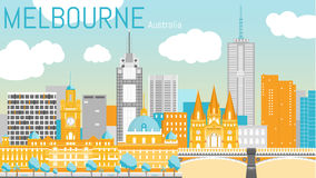 Melbourne city flat vector illustration. Stock Images