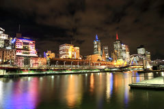 Melbourne City at Night Stock Photo