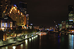 Melbourne city at night (III). Southbank and Melbourne city at night from St kilda road bridge Stock Images