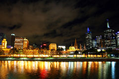 Melbourne City at night Stock Images