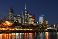 Melbourne City at Night. Reflection of buildings on the river Royalty Free Stock Images
