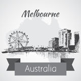 Melbourne city scape sketch - Australia. On white background Royalty Free Stock Images