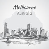 Melbourne city scape sketch - Australia. Stock Image