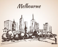 Melbourne city scape sketch - Australia. On white background Stock Photos