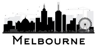 Melbourne City skyline black and white silhouette. Royalty Free Stock Photo