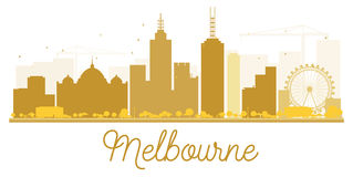 Melbourne City skyline golden silhouette. Royalty Free Stock Photos