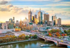 Melbourne city skyline at twilight stock images