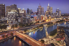 Melbourne city skyline at twilight. Royalty Free Stock Images