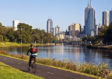 MELBOURNE CITY SKYLINE FROM YARRA RIVER. royalty free stock photo