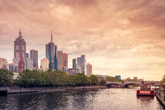 Melbourne City skyscrapers Stock Photography