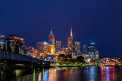 Melbourne city skyscrapers at night Royalty Free Stock Photo