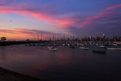 Melbourne City, St. Kilda Pier. Sunset above the ocean, Melbourne City, St. Kilda Pier, Australia Royalty Free Stock Photos