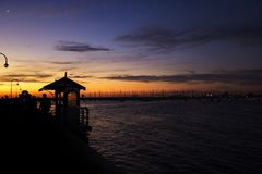 Melbourne City, St. Kilda Pier. Sunset above the ocean, Melbourne City, St. Kilda Pier, Australia Royalty Free Stock Image
