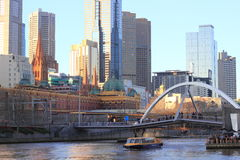 Melbourne city and train station at Yarra river Stock Images