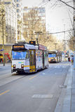 Melbourne City Trams. If you're visiting Melbourne, Victoria, you will no doubt see plenty of the iconic Melbourne trams bustling through the city and suburbs royalty free stock images
