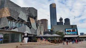 Melbourne City Victoria Australia - Federation Square stock footage