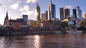 Melbourne City Victoria Australia - Yarra River stock footage