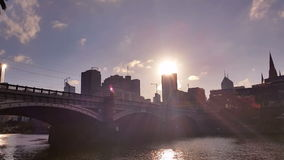 Melbourne City Victoria Australia - Yarra River stock video footage