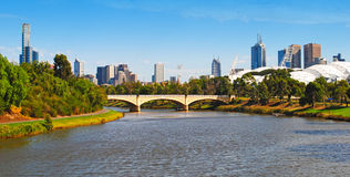 Melbourne City. A view of Melbourne city and Yarra River stock images