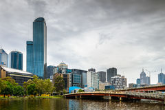 Melbourne City and Yarra River Royalty Free Stock Photo